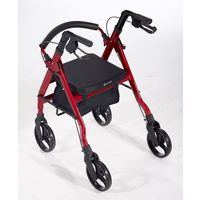 Comodità Prima Heavy-Duty Rolling Walker Rollator with Comfortable 15-Inch Wide Nylon Seat,  metallic red