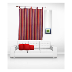 Luk Luck Cotton Ring Rod- Stripes Window Curtain (Set Of 2)