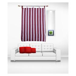 Luk Luck Cotton Ring Rod Striped Window Curtain (Set Of 2)