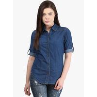 Mayra Solid Shirt, s,  navy blue