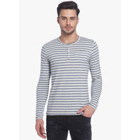 Jack & Jones Striped Henley Neck T-Shirt, m,  off white