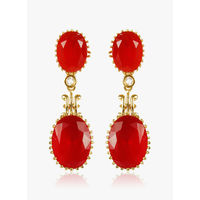 MUCH MORE Red Alloy Danglers & Drop