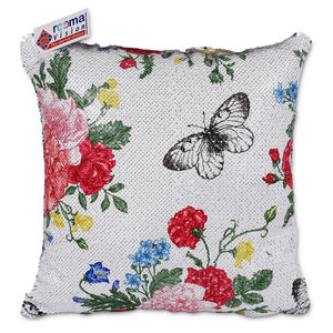 reemavision - Flower Printing Reversible Sequin Cushion Cover, baby girl