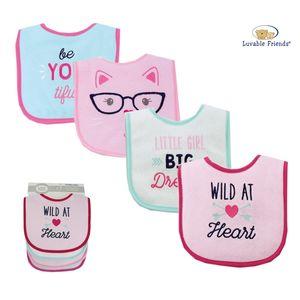 Drooler Bib 4pk - Heart, baby girl