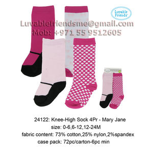 Basic Crew Sock 4 Pair - Mary JaneLuvable Friends-24122, baby girl