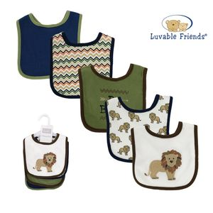Interlock Drooler Bib 5pk-Lion, baby neutral