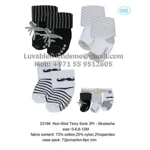 Luvable Friends Non-Skid Terry Sock 3 Pair– Mustache-23194, baby boy