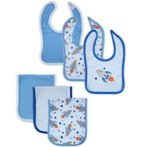 6 pc Bib & Burp Cloth Set-Rocket, baby neutral