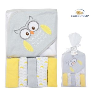 Hooded Towel & 5pk Washcloth, baby neutral