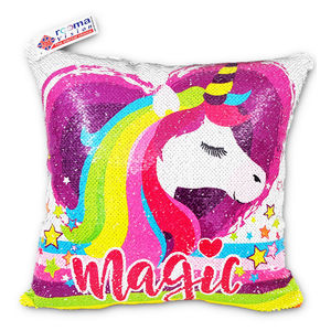 reemavision - Magic Horse Printing Reversible Sequin Cushion Cover, baby girl