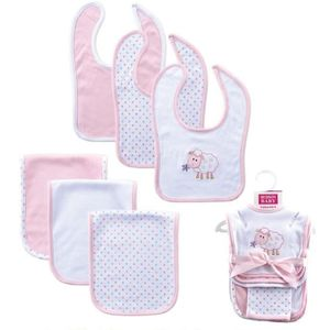 6 pc Bib & Burp Cloth Set-Sheep, baby neutral