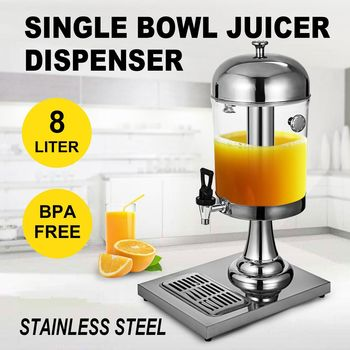 Round Beverage Drink Dispensers Stainless Steel-8L/2.1 Gallon Single Head Beverage Dispenser with Cold Ice Juice Dispensers for Home and Commercial Restaurant