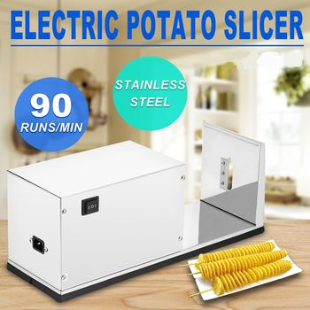 THE URBAN KITCHEN Commercial Electric Potato Slicer Stainless Steel Twisted Potato Tornado Slicer Automatic Cutter Machine Spiral Potato Cutter Tornado Potatoes Making (Electric)