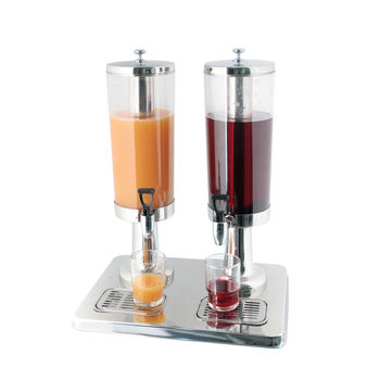 THE URBAN KITCHEN Heavy Duty Stainless Steel Double Drink Dispenser, 4L+ 4L