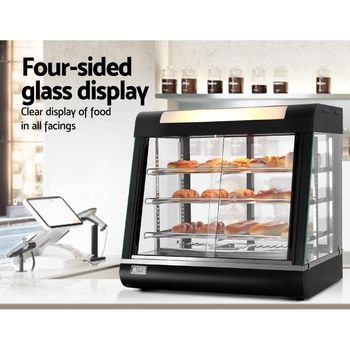 THE URBAN KITCHEN Commercial Curved Glass Hot Food Warmer Display Merchandiser Case