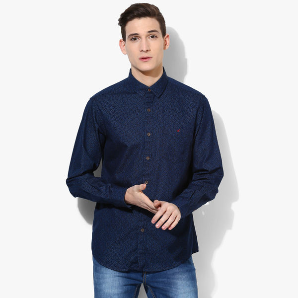 Wills Lifestyle Printed Slim Fit Casual Shirt, 40,  navy blue