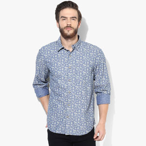 John Players Yarn Dyed Printed Casual Shirt,  blue, 42