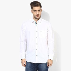 Park Avenue Solid Slim Fit Shirt,  white, s