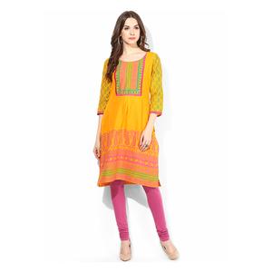 Riya Printed Kurti,  yellow, m