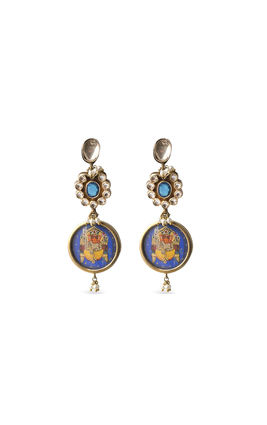 BLUE & WHITE KUNDAN EARRINGS