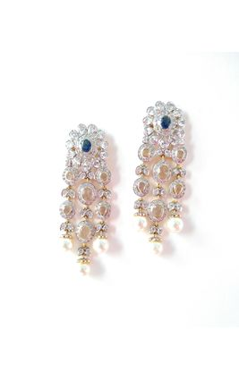 BLUE SAPPHIRE WITH CZ POLKI PEARL DROP EARRINGS