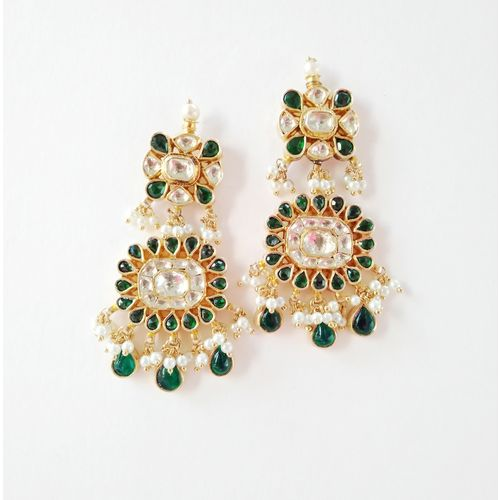 GREEN AND WHITE KUNDAN SILVER EARRING