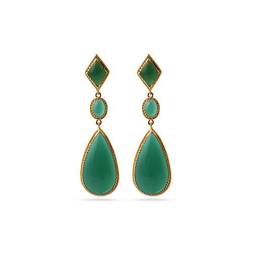 GREEN ONEX STONE EARRINGS