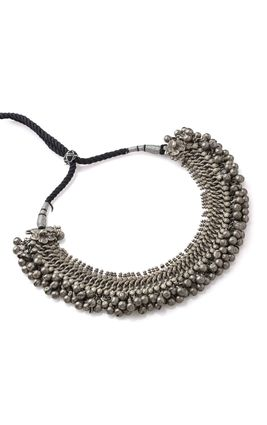 SILVER OXIDISED BALL NECKLACE