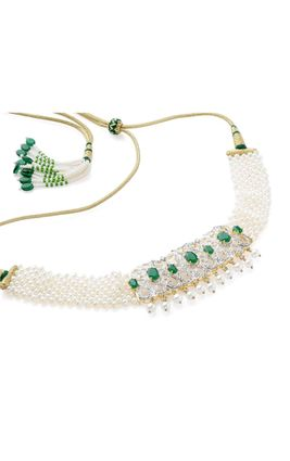 GREEN ONYX STONE CZ DIAMOND PEARL GUTHANI NECKLACE SET