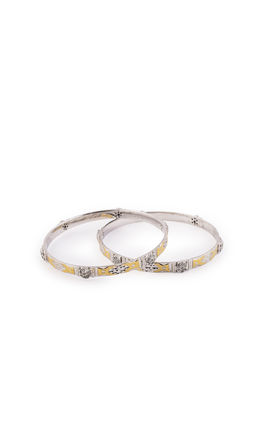 SILVER GOLD FACTED SEPARATE DESIGN CZ DIAMOND BANGLES