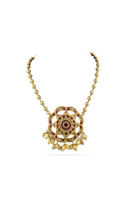 PINK WHITE KUNDAN TAKKAR STONE AASHNA GOLDEN NECKLACE