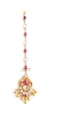 WHITE RED KUNDAN TIKKA