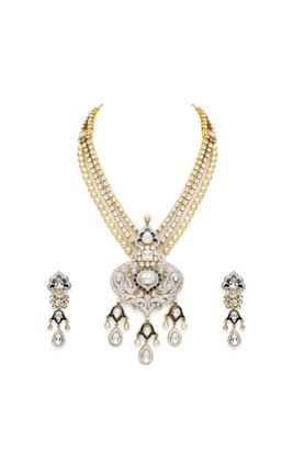 BLUE ENAMEL WHITE KUNDAN CZ DIAMOND NECKLACE SET