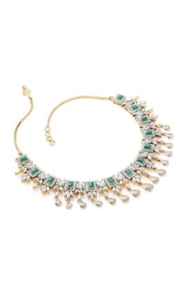 GREEN ONYX STONE MARQUISE CZ DIAMOND NECKLACE SET