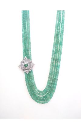 REAL EMERALDS STRINGS WITH CZ DIAMOND SIDE BROOCH