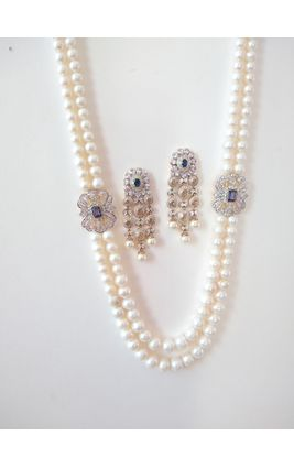 TWO LINE FRESH WATER PEARL STRINGS WITH CZ SIDE BROOCH