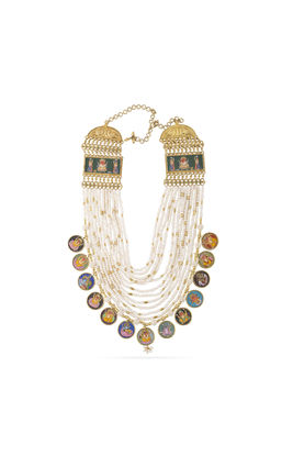 MOTIF PIECES WITH CHAINA ROUND STRINGS AASHNA LONG NECKLACE