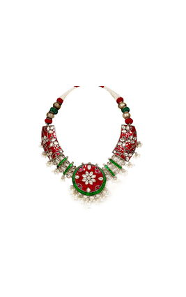 MULTI KUNDAN SILVER NECKLACE