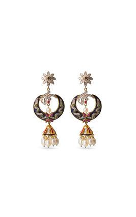 Blue enamel chand shaped CZ earrings