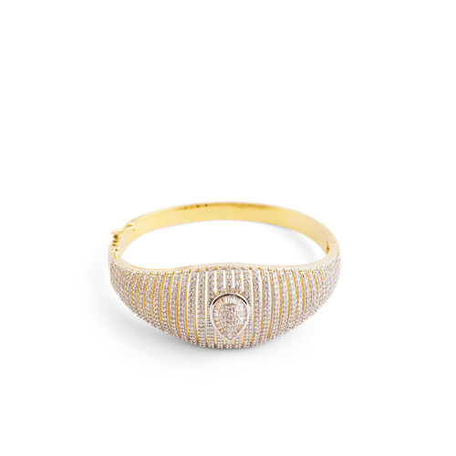 FULL CZ DIAMOND GOLD SILVER CENTER LEAF SHAPE BRACELET