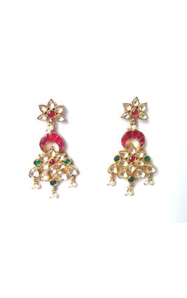 SILVER BASED MULTI KUNDAN STONES EARRINGS