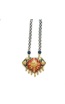RED AND BLUE JAIPURI ENAMEL WORK NECKLACE