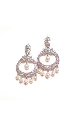 92.5 SILVER CZ WITH PEARL CHAND EARRINGS