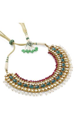 ONYX CABOCHON WHITE KUNDAN NECKLACE SET
