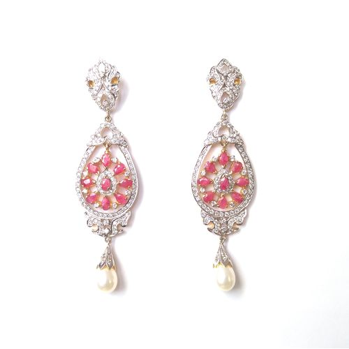 CZ WITH REAL RUBY EARRINGS