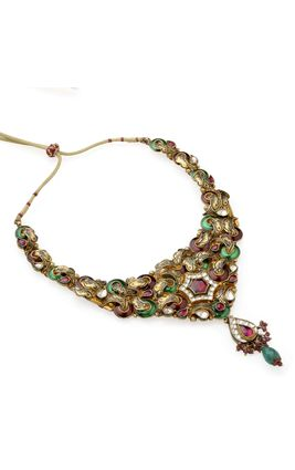 RHODO WHITE KUNDAN GREEN & MAROON ENAMEL NECKLACE SET