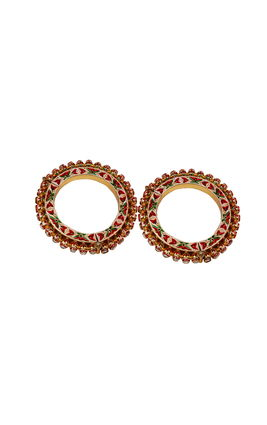 WHITE KUNDAN GAJRA BANGLE