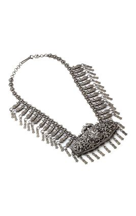 SILVER OXIDISED CARVING LONG NECKLACE