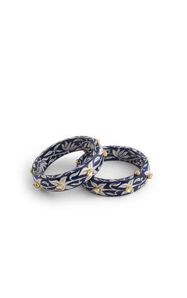 WHITE KUNDAN BLUE& WHITE BIKANERI FLOWER ENAMEL BANGLES