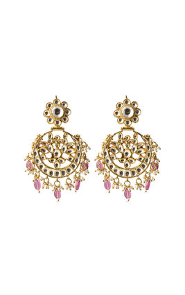 WHITE KUNDAN CHAND EARRINGS